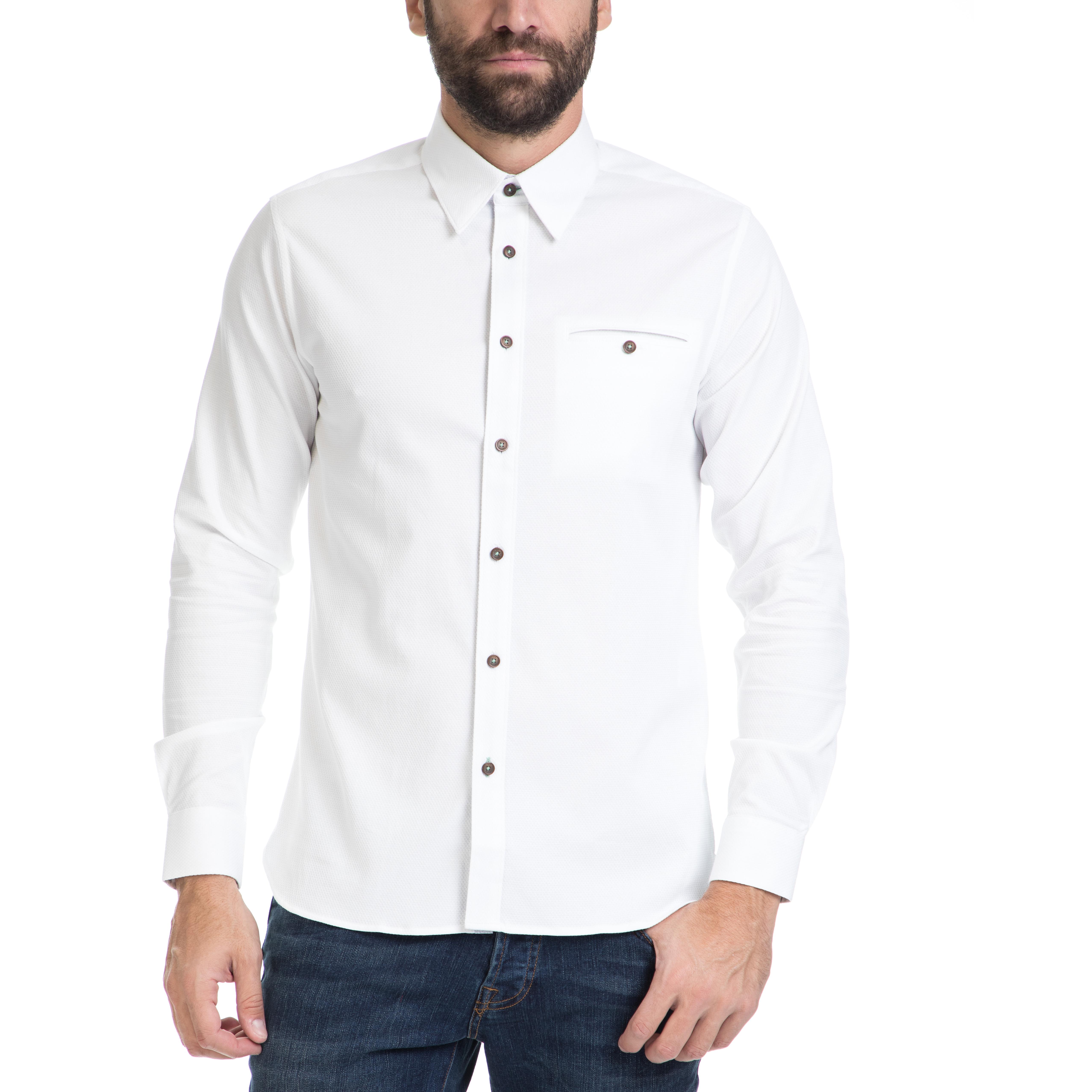 TED BAKER - Ανδρικό πουκάμισο OBIDOS TED BAKER λευκό ανδρικά ρούχα πουκάμισα μακρυμάνικα