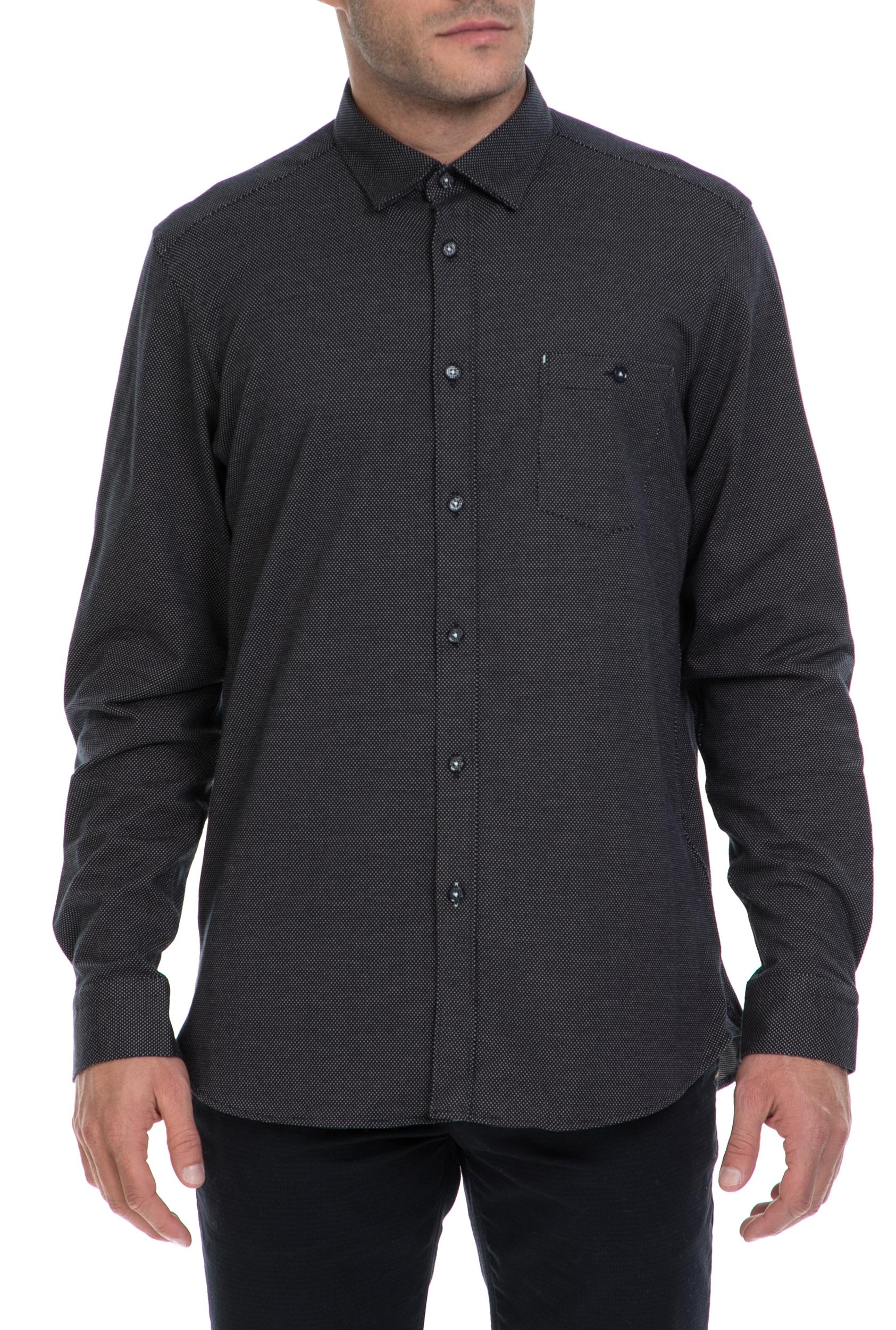 TED BAKER - Ανδρικό πουκάμισο MAXXB TED BAKER μπλε ανδρικά ρούχα πουκάμισα μακρυμάνικα