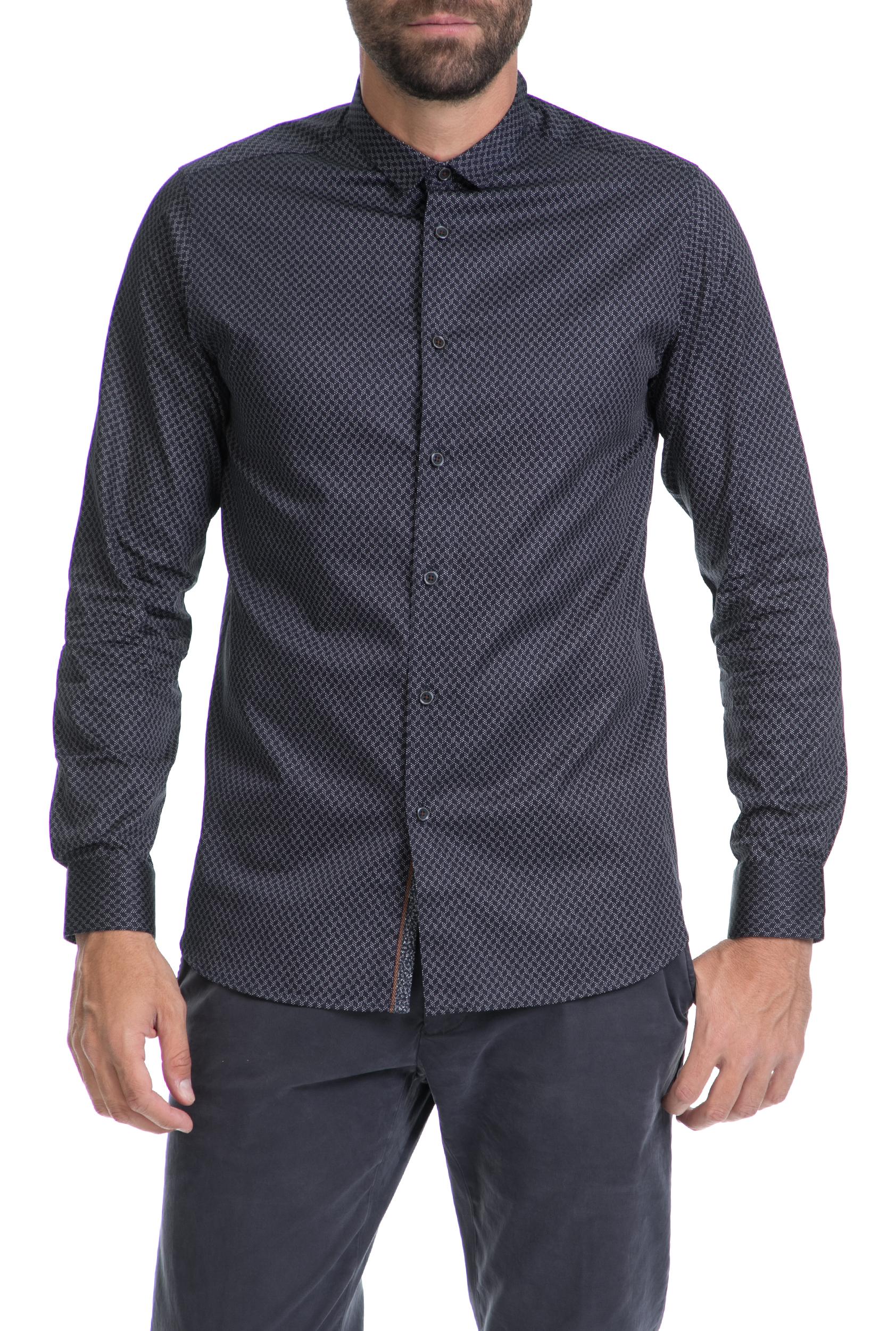 TED BAKER - Ανδρικό πουκάμισο SENNE LS GEO PRINT TED BAKER μπλε-γκρι ανδρικά ρούχα πουκάμισα μακρυμάνικα