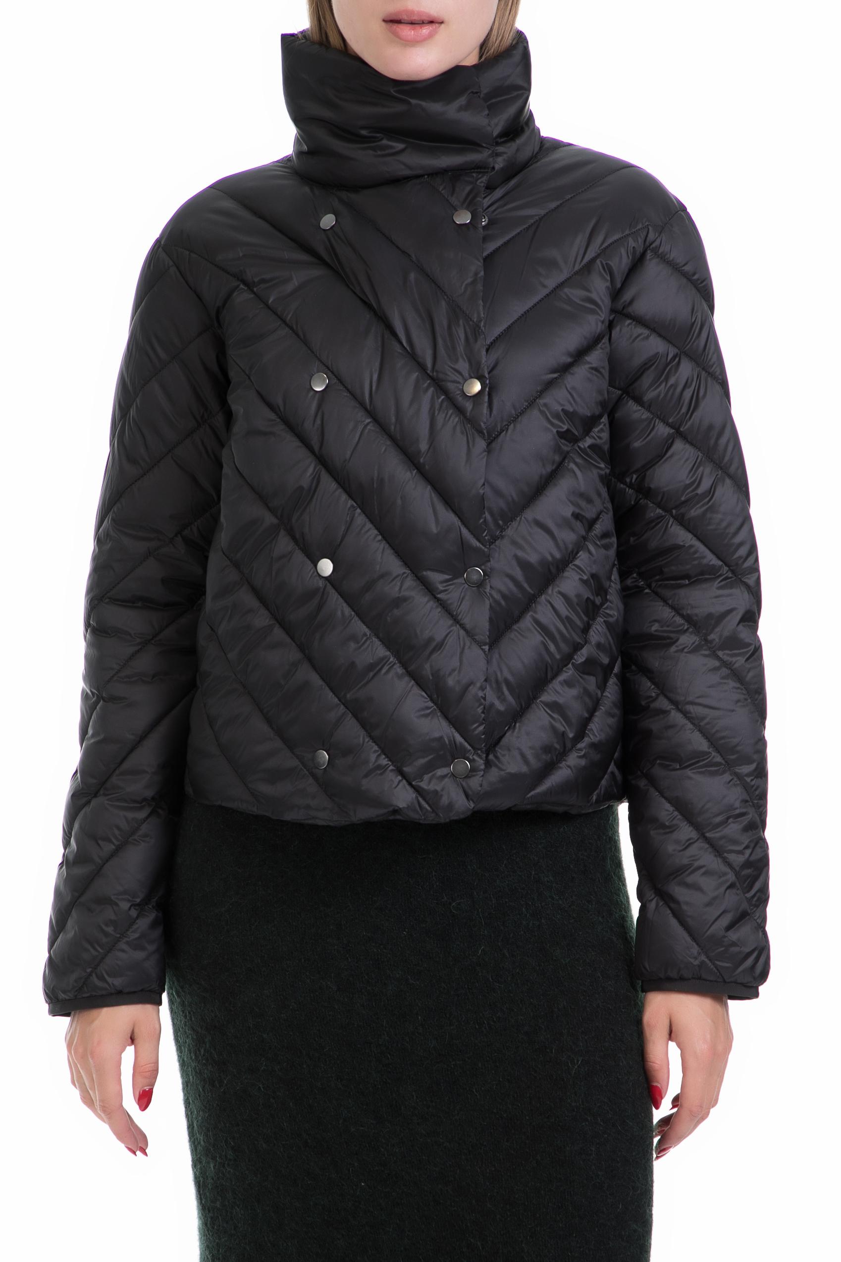 SCOTCH & SODA - Γυναικείο μπουφάν Nylon double breasted quilted μαύρο γυναικεία ρούχα πανωφόρια μπουφάν