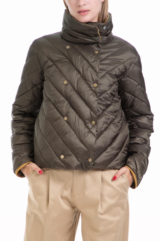 SCOTCH & SODA - Γυναικείο μπουφάν Nylon double breasted quilted καφέ γυναικεία ρούχα πανωφόρια μπουφάν