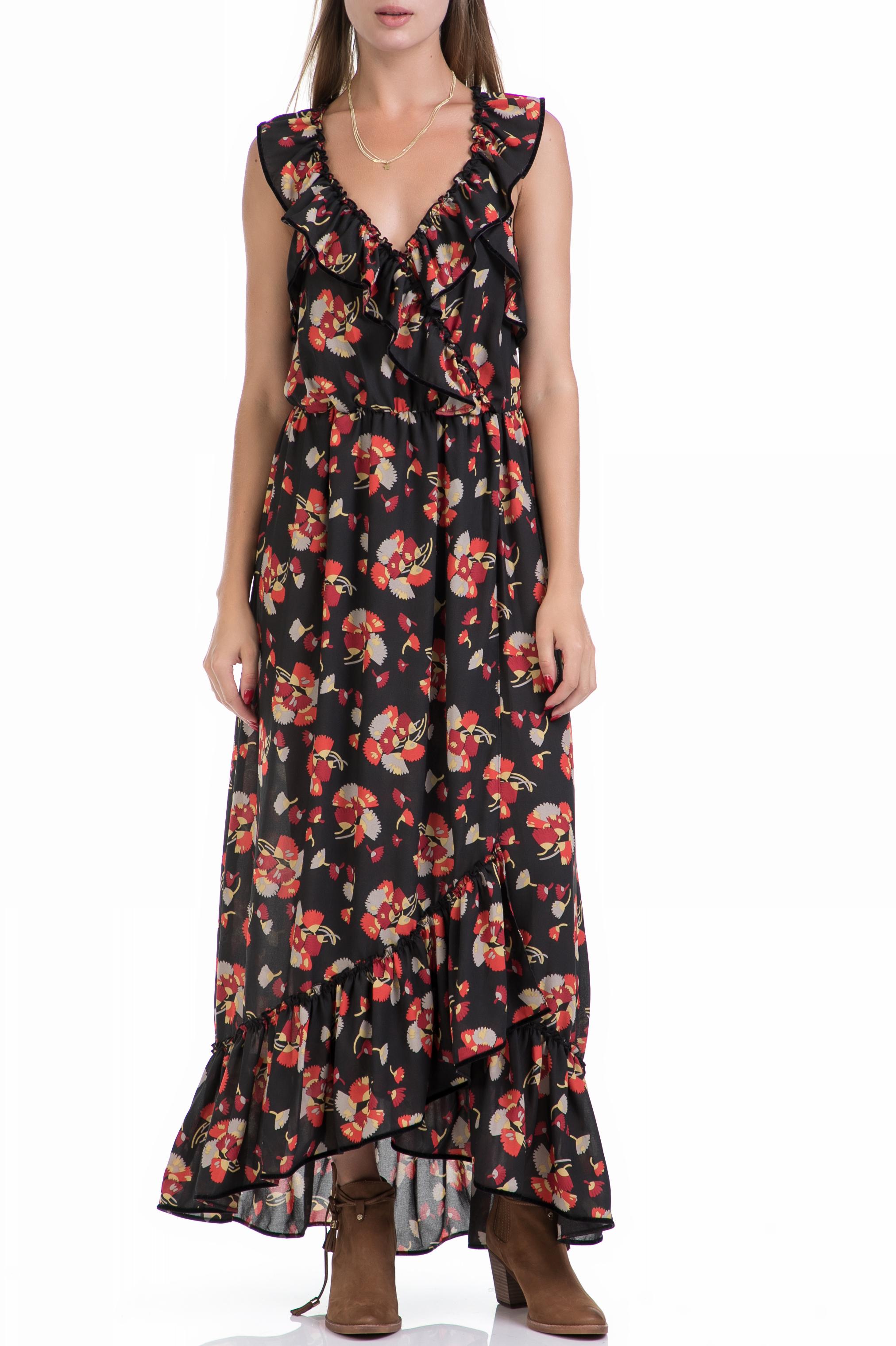 SCOTCH & SODA - Γυναικείο φόρεμα MAISON SCOTCH μαύρο-εμπριμέ γυναικεία ρούχα φορέματα μάξι
