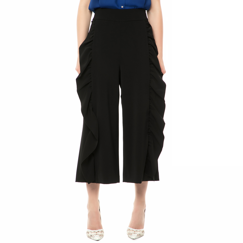 TED BAKER - Γυναικεία ψηλόμεση ζιπ κιλότ TED BAKER JULIAN FRILL INSERT μαύρη γυναικεία ρούχα παντελόνια cropped