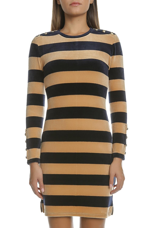 JUICY COUTURE - Μίνι φόρεμα VELOUR STRIPED FIT μπεζ-μαύρο