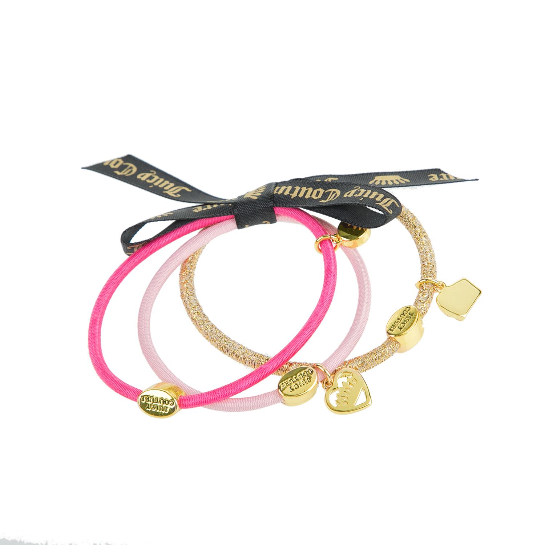 JUICY COUTURE - Σετ από 3 λαστιχάκια μαλλιών CHARMY ροζ-χρυσά