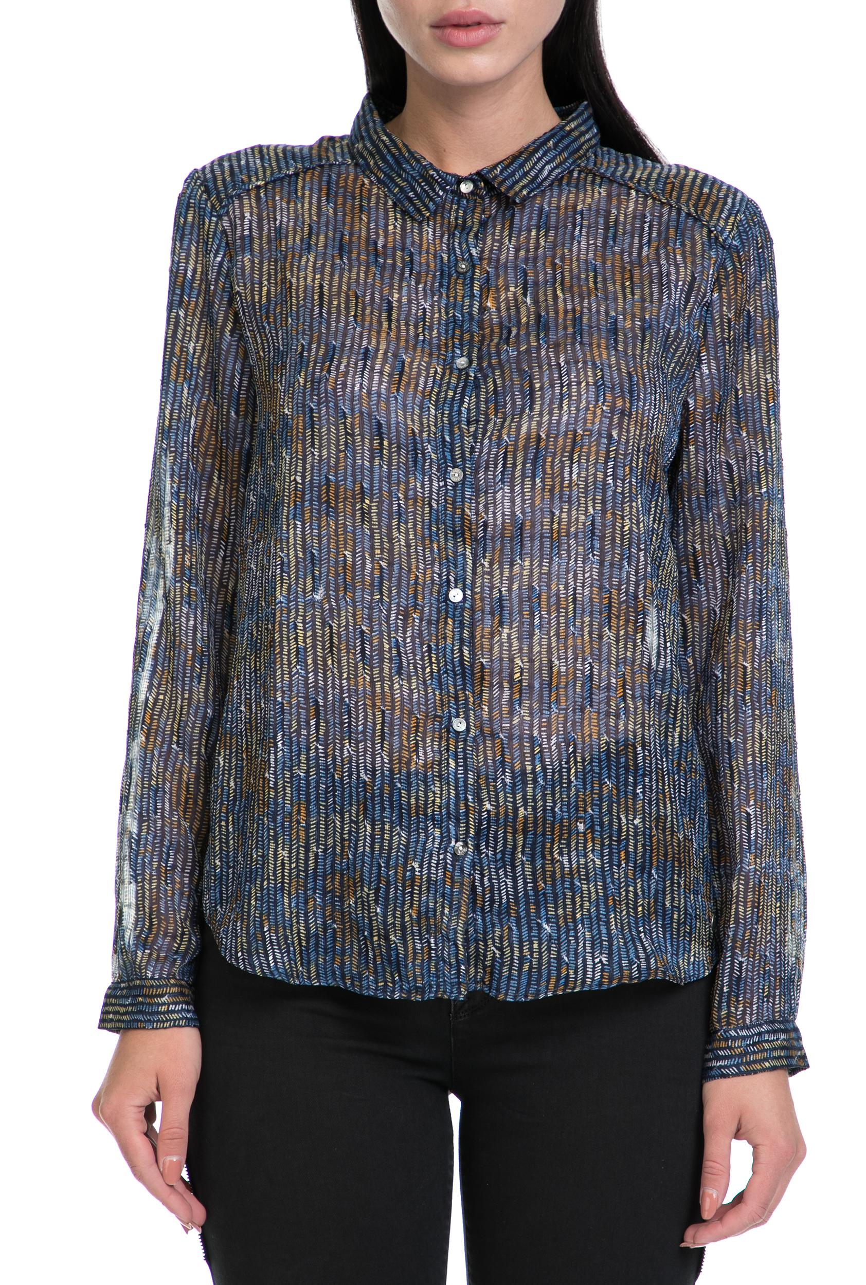 GARCIA JEANS - Γυναικείο πουκάμισο GARCIA JEANS μπλε-καφέ γυναικεία ρούχα πουκάμισα μακρυμάνικα