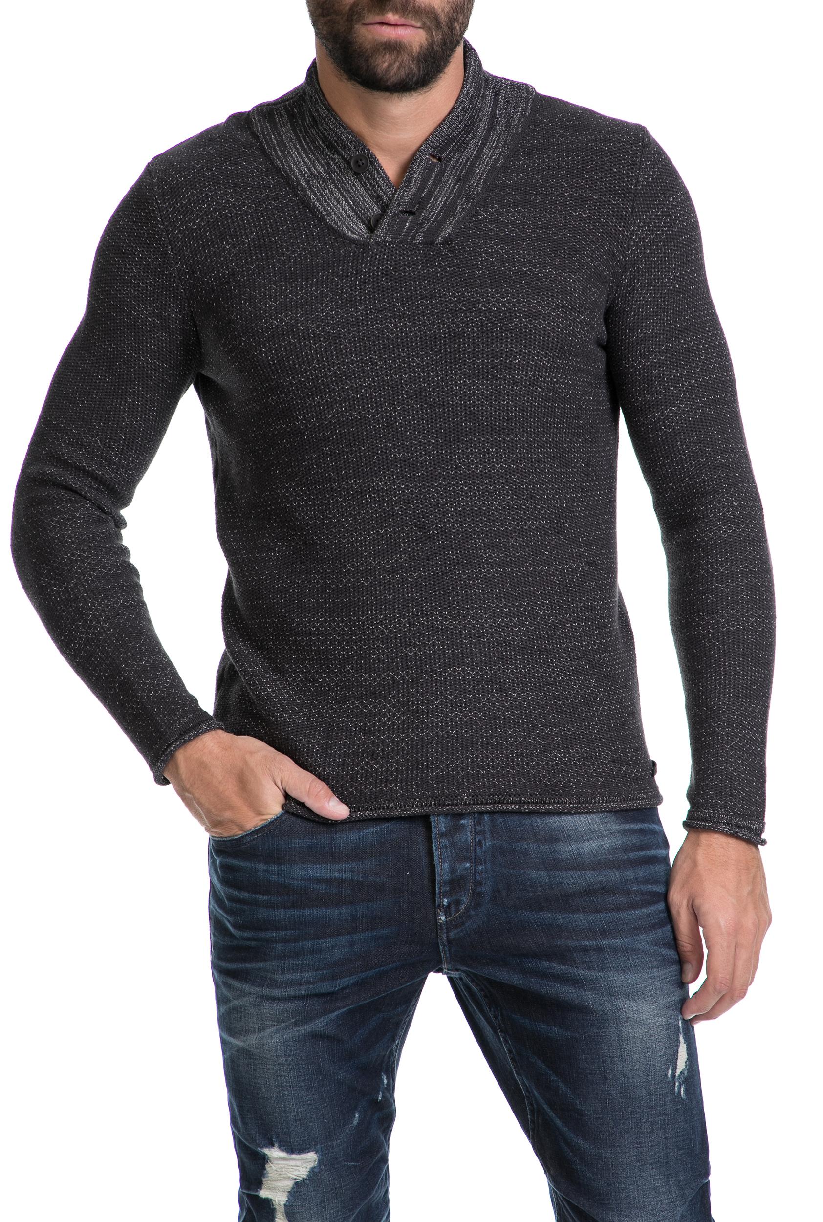 GARCIA JEANS - Ανδρικό πουλόβερ GARCIA JEANS γκρι ανδρικά ρούχα πλεκτά ζακέτες μπλούζες