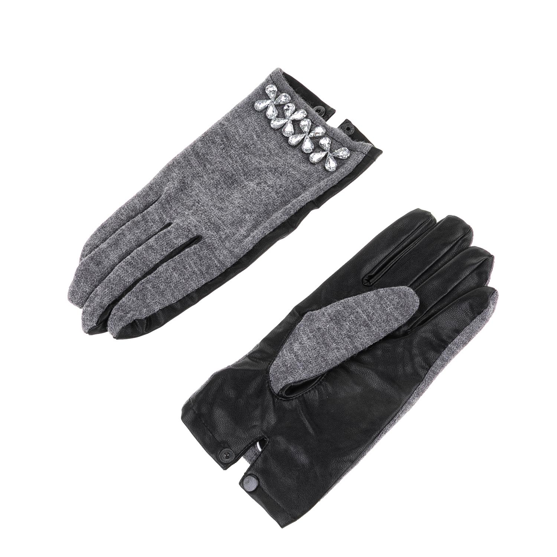 GUESS - Γυναικεία γάντια GUESS γκρι-μαύρα γυναικεία αξεσουάρ φουλάρια κασκόλ γάντια