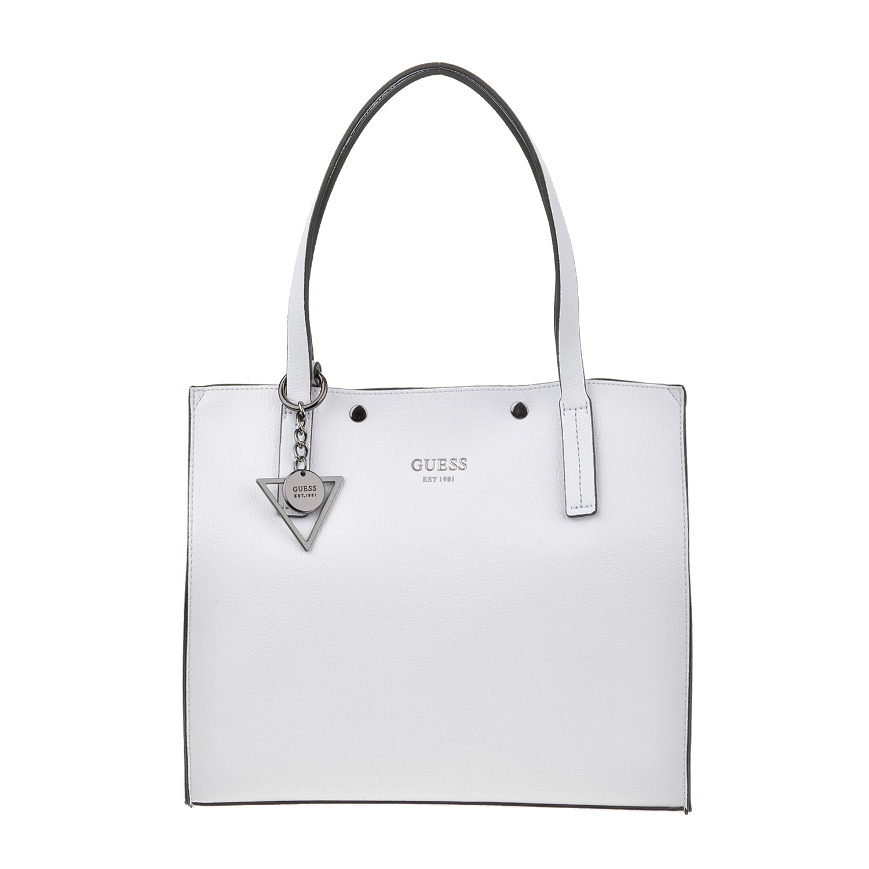 GUESS - Γυναικεία τσάντα ώμου GUESS KINLEY λευκή 05a5f1d46b9