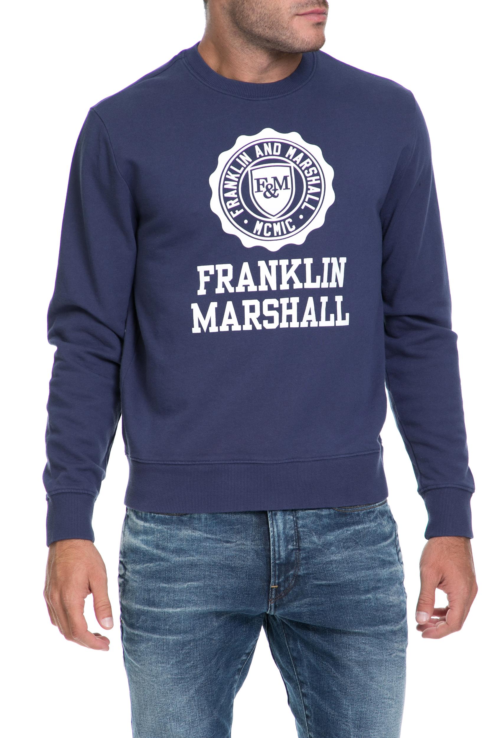 FRANKLIN & MARSHALL - Ανδρικό φούτερ FLEECE FRANKLIN & MARSHALL μπλε ανδρικά ρούχα μπλούζες φούτερ