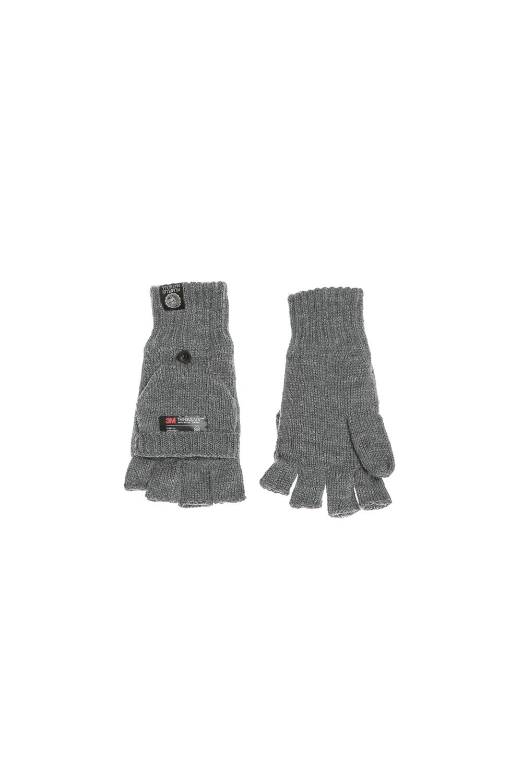 FRANKLIN & MARSHALL - Πλεκτά γάντια FRANKLIN & MARSHALL γκρι γυναικεία αξεσουάρ φουλάρια κασκόλ γάντια