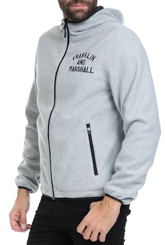 FRANKLIN & MARSHALL-Ανδρικό μπουφάν JACKETS NYLON ZIP + HOOD LONG