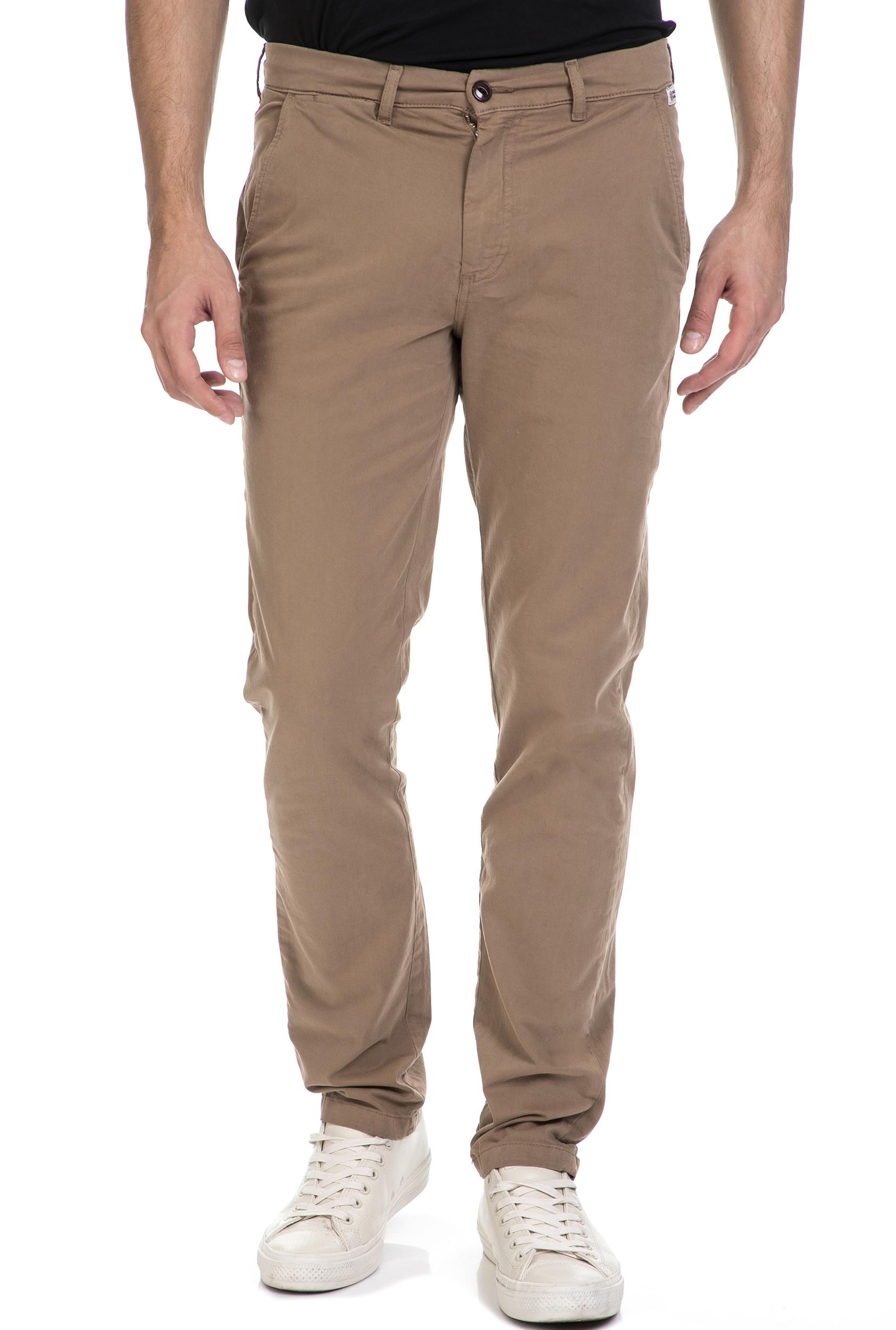 FRANKLIN & MARSHALL - Ανδρικό παντελόνι FRANKLIN & MARSHALL μπεζ ανδρικά ρούχα παντελόνια chinos