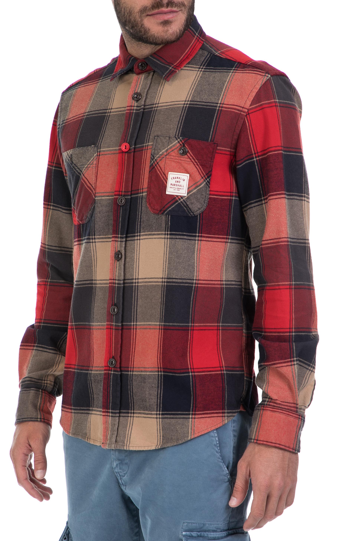 070bbf9b238a FRANKLIN   MARSHALL - Ανδρικό πουκάμισο FRANKLIN   MARSHALL κόκκινο-μαύρο