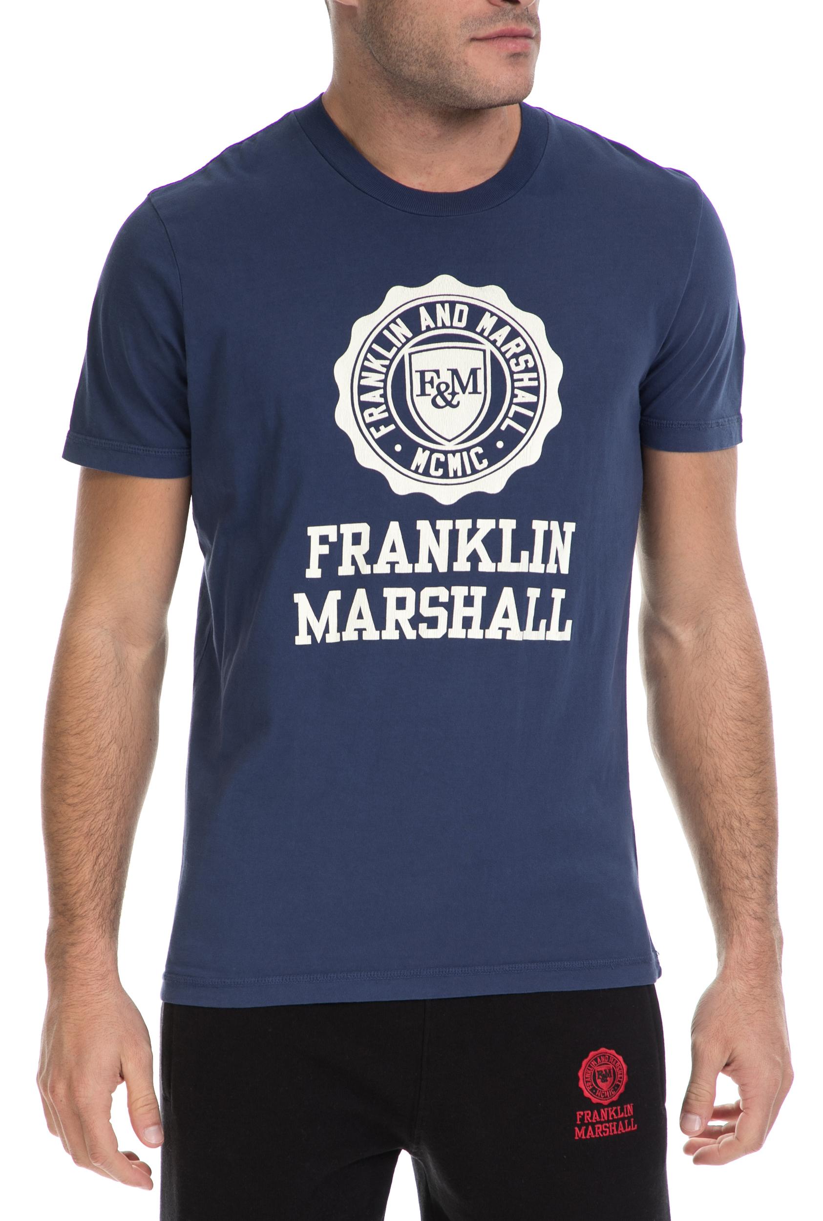 FRANKLIN & MARSHALL - Ανδρικό T-SHIRT JERSEY FRANKLIN & MARSHALL μπλε ανδρικά ρούχα μπλούζες κοντομάνικες