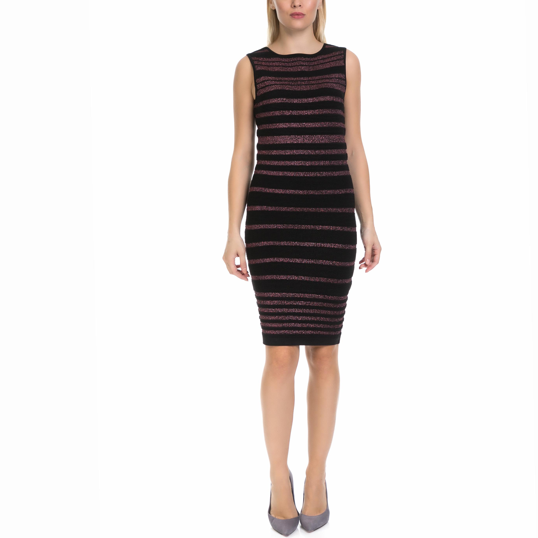 GUESS - Γυναικείο φόρεμα MINA GUESS μαύρο-μοβ γυναικεία ρούχα φορέματα μέχρι το γόνατο
