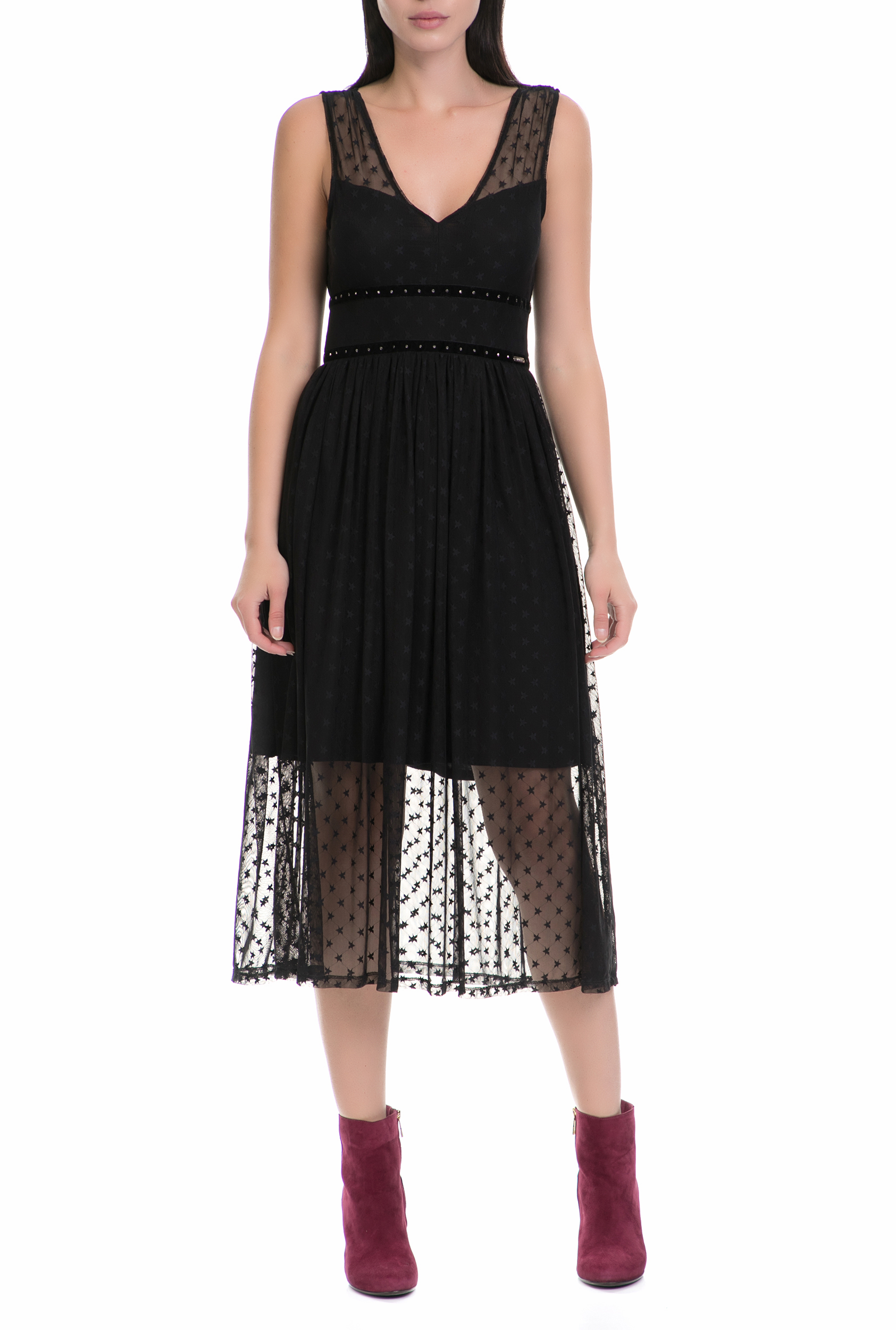 GUESS - Γυναικείο φόρεμα SILVIA GUESS μαύρο γυναικεία ρούχα φορέματα μέχρι το γόνατο