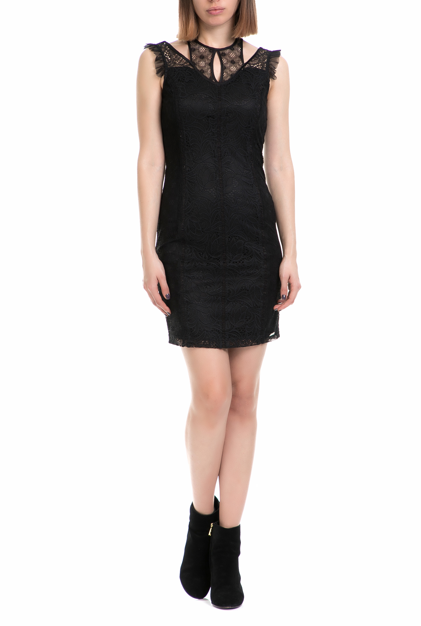 GUESS - Γυναικείο μίνι αμάνικο φόρεμα Guess μαύρο από δαντέλα 317220d8754