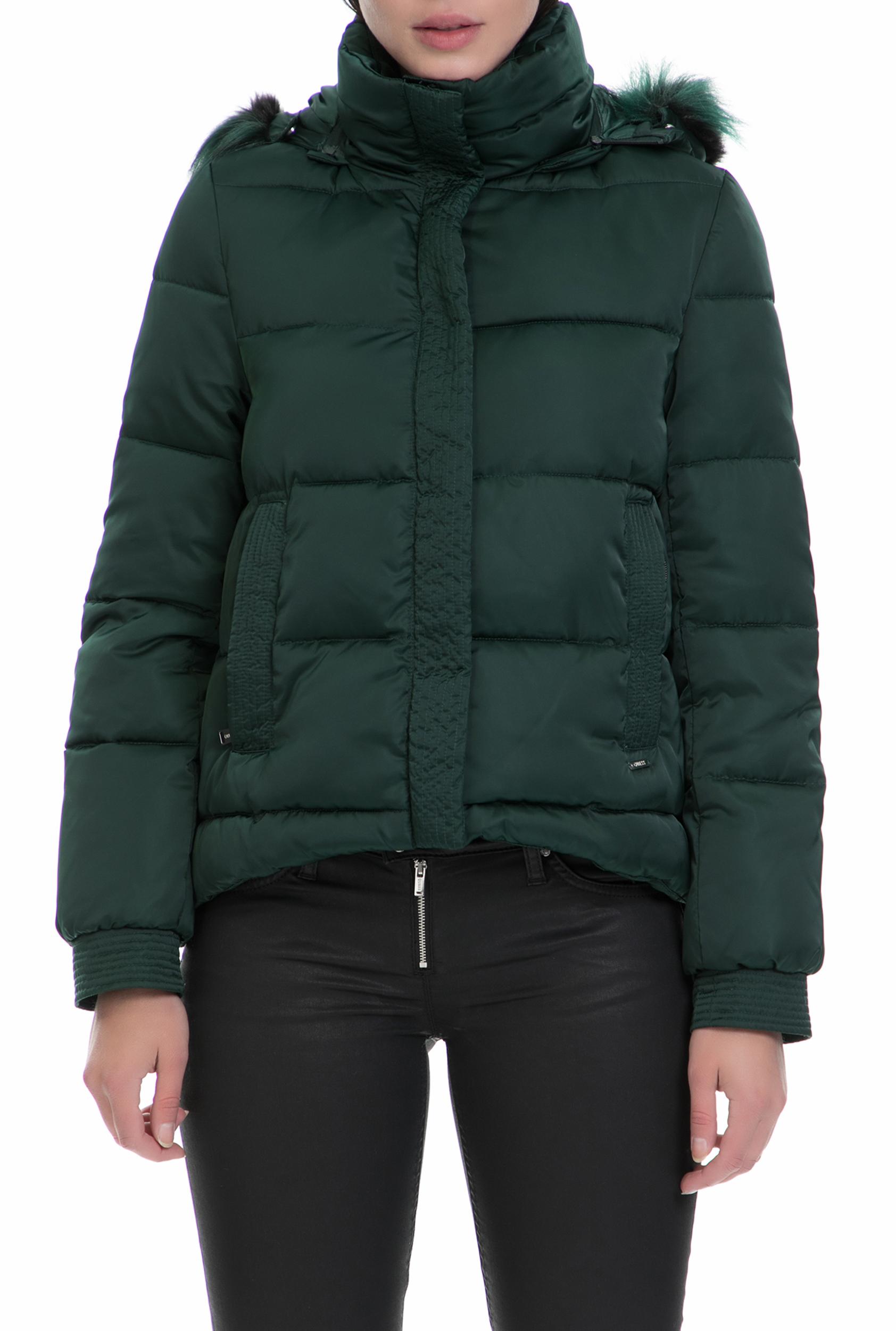 GUESS - Γυναικείο φουσκωτό μπουφάν Guess σκούρο πράσινο γυναικεία ρούχα πανωφόρια μπουφάν