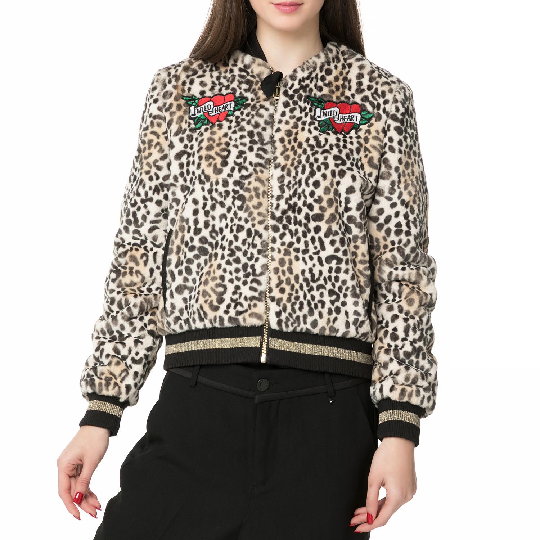 GUESS - Γυναικείο bomber jacket Guess AMELIA BOMBER JACKET λεοπάρ γυναικεία ρούχα πανωφόρια τζάκετς