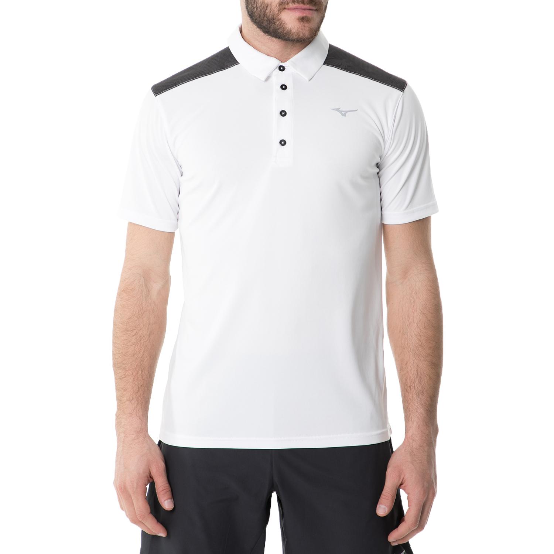 MIZUNO - Ανδρική πόλο μπλούζα τένις MIZUNO Eagle λευκή ανδρικά ρούχα αθλητικά t shirt