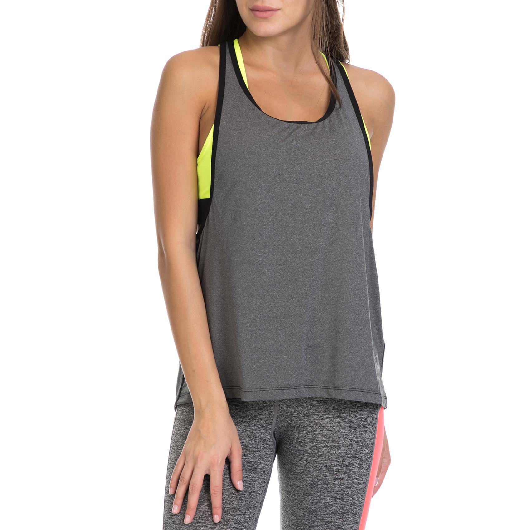 GSA - Γυναικεία αθλητική μπλούζα GSA DOUBLE LOOSE TANK TOP T-SHIRT γκρι-κίτρινη γυναικεία ρούχα μπλούζες αμάνικες