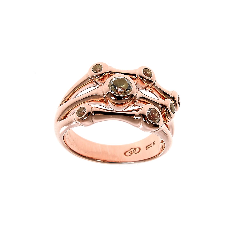 LINKS OF LONDON - Ασημένιο δαχτυλίδι Links of London Bella 3 Row ροζ χρυσό - μέγ γυναικεία αξεσουάρ κοσμήματα δαχτυλίδια