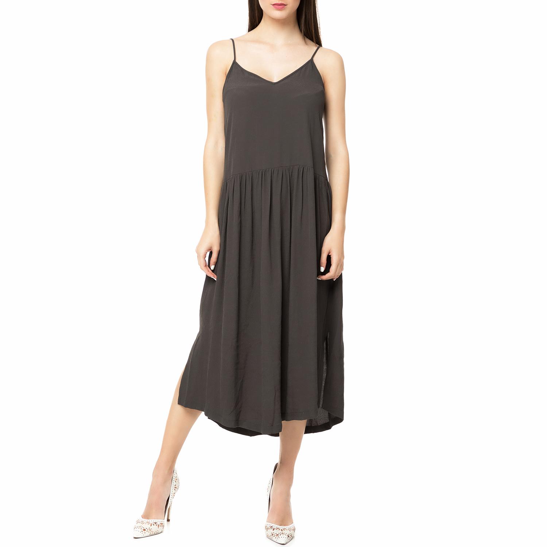 AMERICAN VINTAGE - Γυναικείο midi φόρεμα LIO130E17 AMERICAN VINTAGΕ γκρι γυναικεία ρούχα φορέματα μέχρι το γόνατο