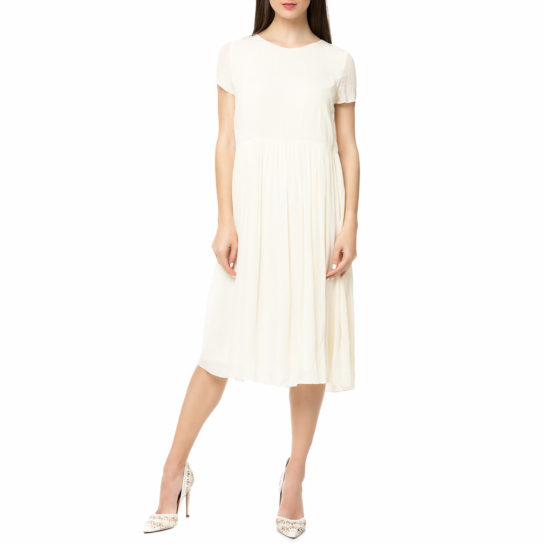 AMERICAN VINTAGE - Γυναικείο midi φόρεμα NEY111E17 AMERICAN VINTAGE λευκό γυναικεία ρούχα φορέματα μέχρι το γόνατο