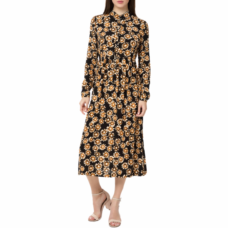 AMERICAN VINTAGE - Γυναικείο μίντι φόρεμα POME166BE17 AMERICAN VINTAGE με φλοράλ γυναικεία ρούχα φορέματα μέχρι το γόνατο