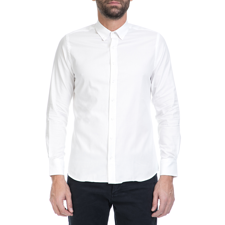 SORBINO - Ανδρικό πουκάμισο SORBINO λευκό ανδρικά ρούχα πουκάμισα μακρυμάνικα