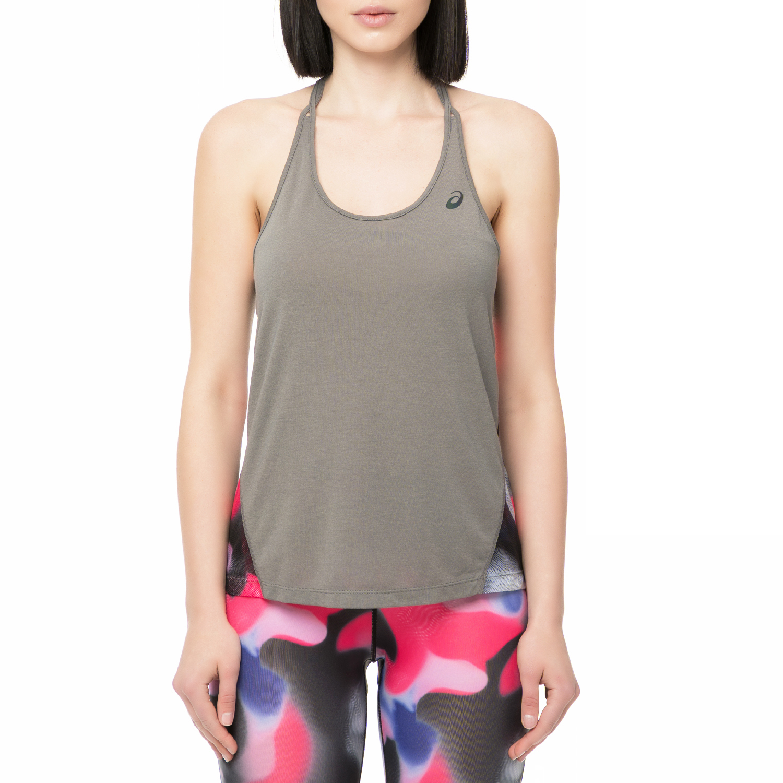 ASICS - Γυναικείο αθλητικό φανελάκι LAYERING Asics γκρι με print γυναικεία ρούχα αθλητικά t shirt τοπ