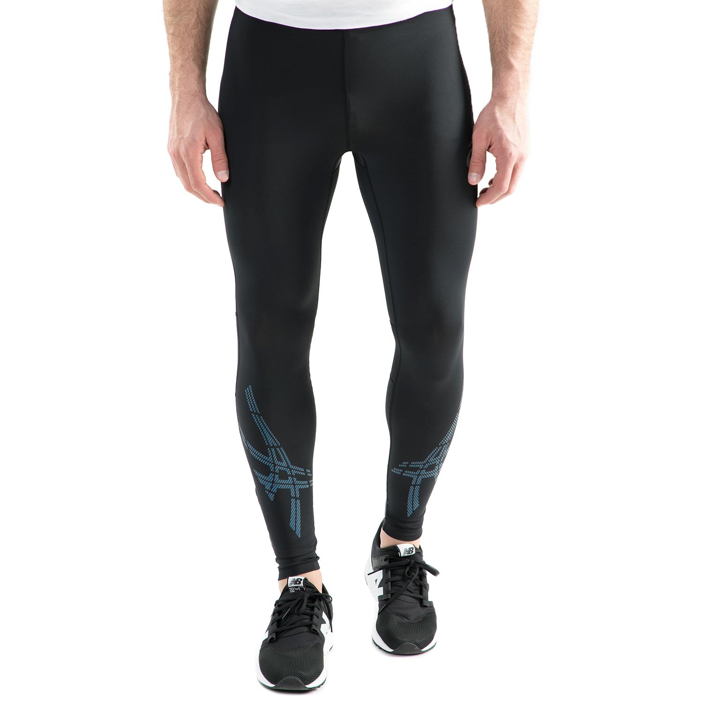 ASICS - Ανδρικό αθλητικό μακρύ κολάν Asics STRIPE TIGHT μαύρο - μπλε ανδρικά ρούχα αθλητικά κολάν