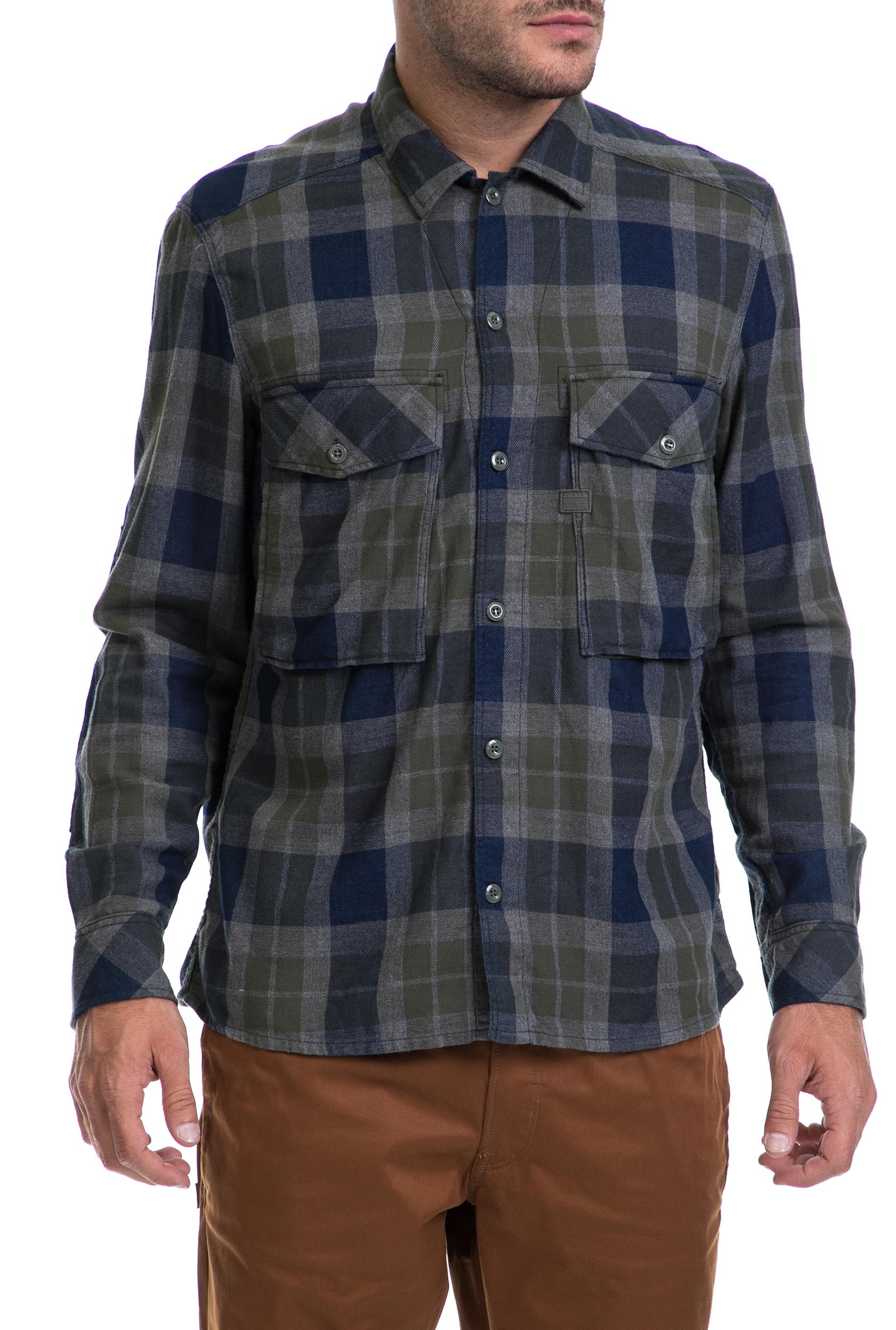68586f506c38 Ανδρικό βαμβακερό πουκάμισο με καρό μοτίβα στις αποχρώσεις του μπλε και του  χακί