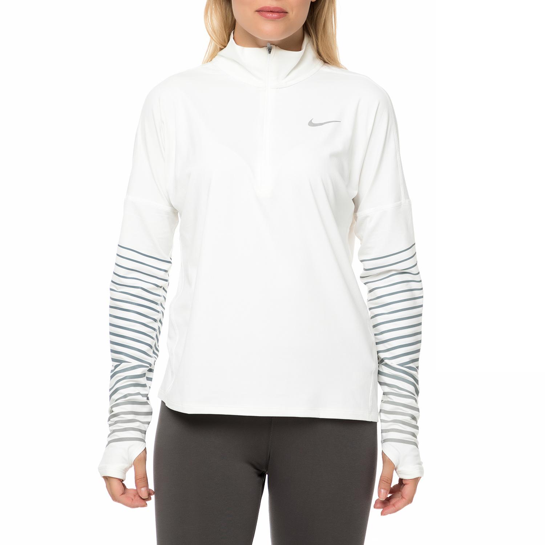 be25f5c22e28 NIKE – Γυναικεία αθλητική μακρυμάνικη μπλούζα NIKE DRY FLSH ELMNT TOP HZ  λευκή