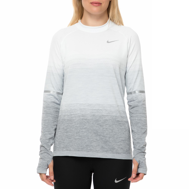 14bc962a3360 NIKE - Γυναικεία μακρυμάνικη μπλούζα NIKE DF KNIT TOP LS NV λευκή-γκρι