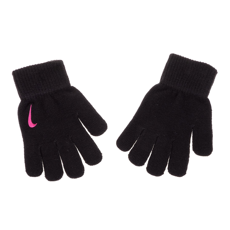 NIKE ACCESSORIES - Κοριτσίστικα γάντια NIKE YA SWOOSH KNIT μαύρα παιδικά girls αξεσουάρ κασκόλ γάντια