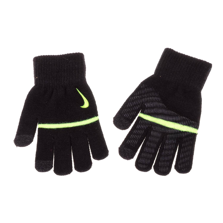 NIKE ACCESSORIES - Unisex παιδικά γάντια NIKE YA STRIPE KNITTED TECH μαύρα παιδικά boys αξεσουάρ κασκόλ γάντια