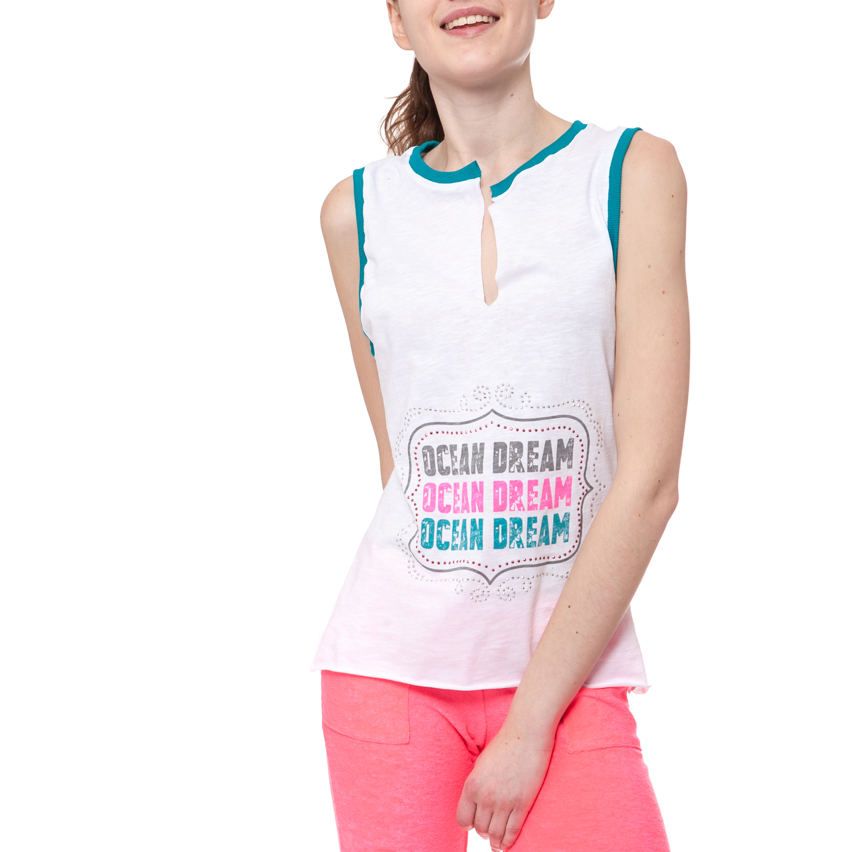 MYMOO - Γυναικεία μπλούζα MYMOO λευκή γυναικεία ρούχα μπλούζες αμάνικες
