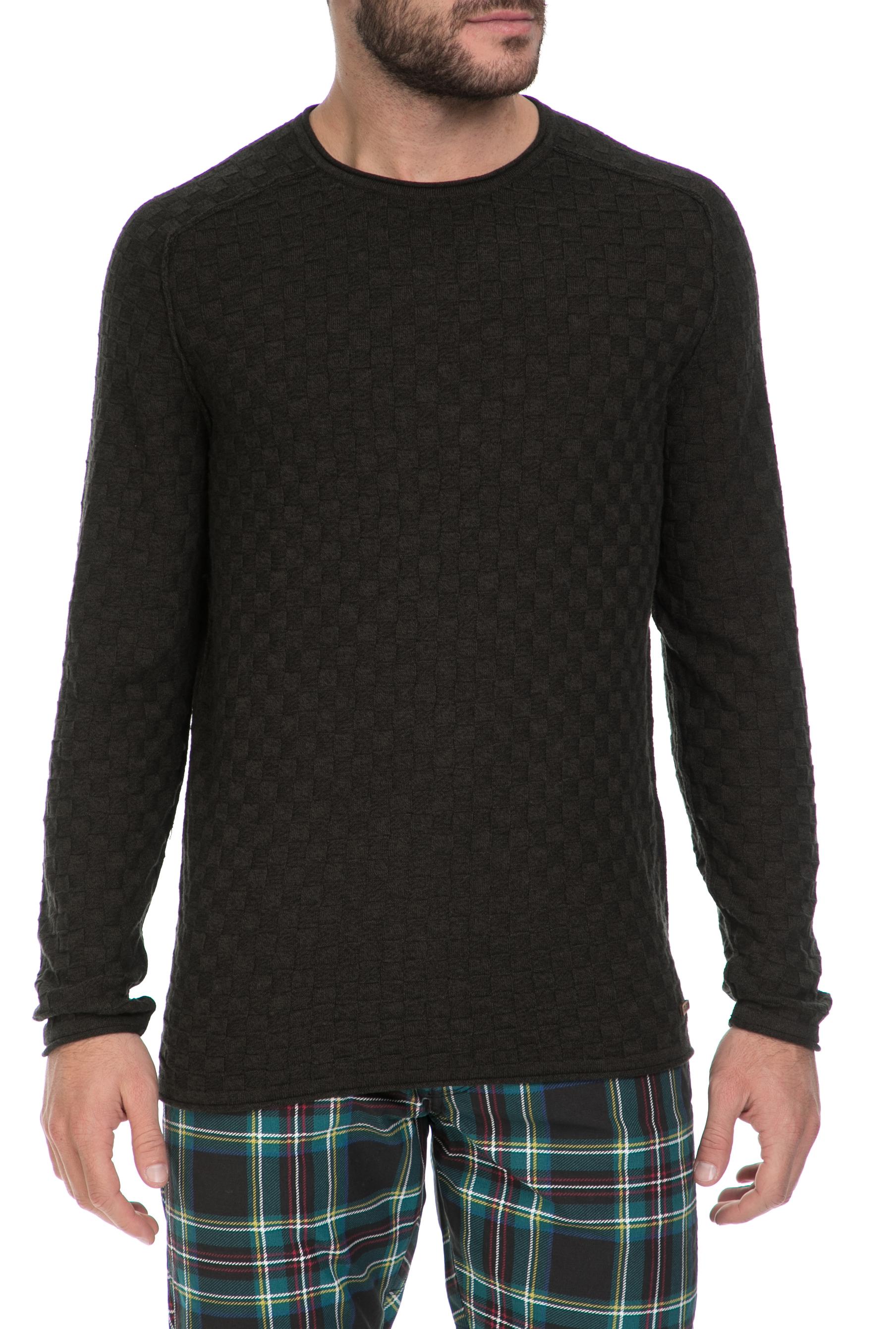 GARCIA JEANS - Ανδρικό πουλόβερ GARCIA JEANS καφέ ανδρικά ρούχα πλεκτά ζακέτες μπλούζες