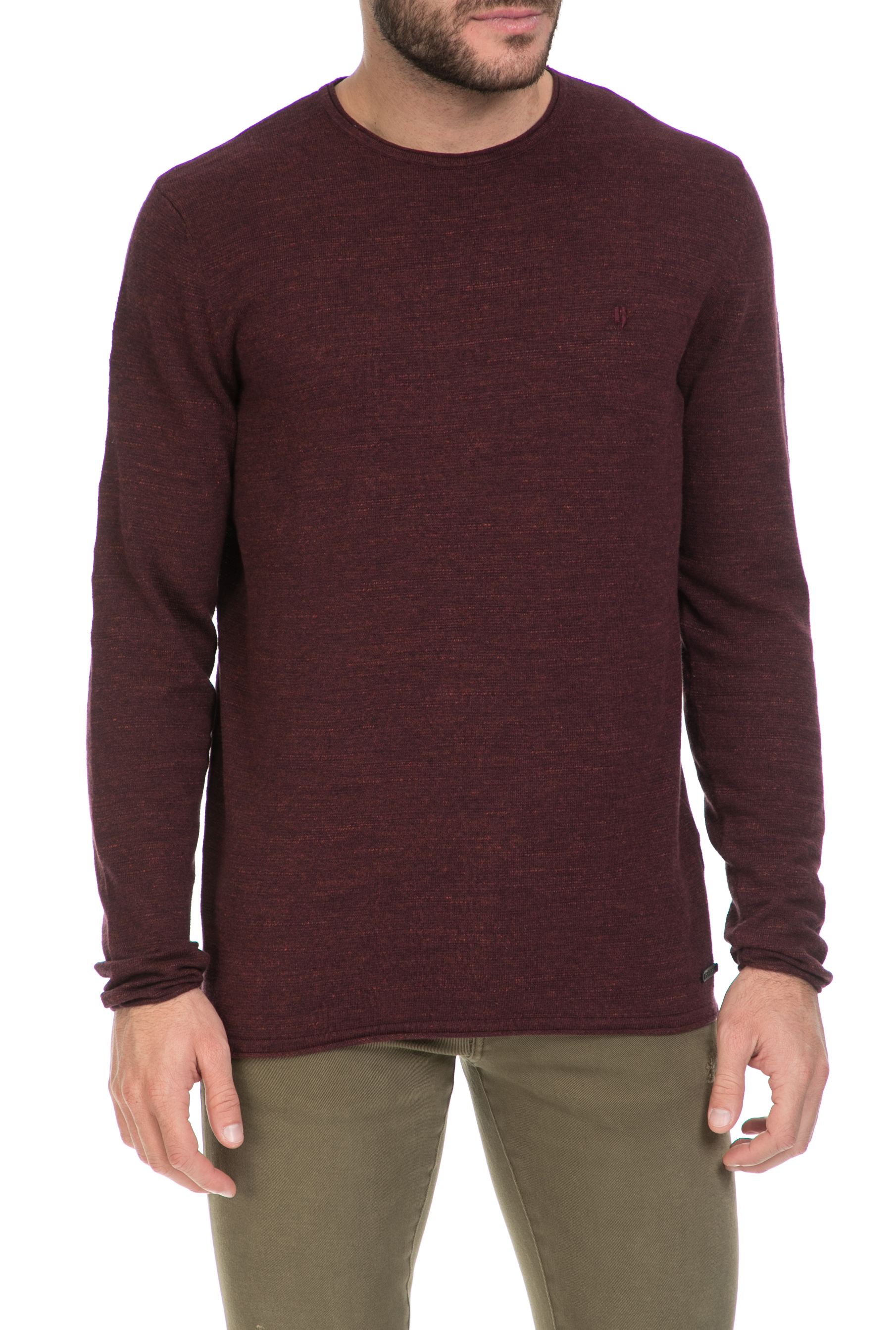 GARCIA JEANS - Ανδρικό πουλόβερ GARCIA JEANS μπορντό ανδρικά ρούχα πλεκτά ζακέτες μπλούζες