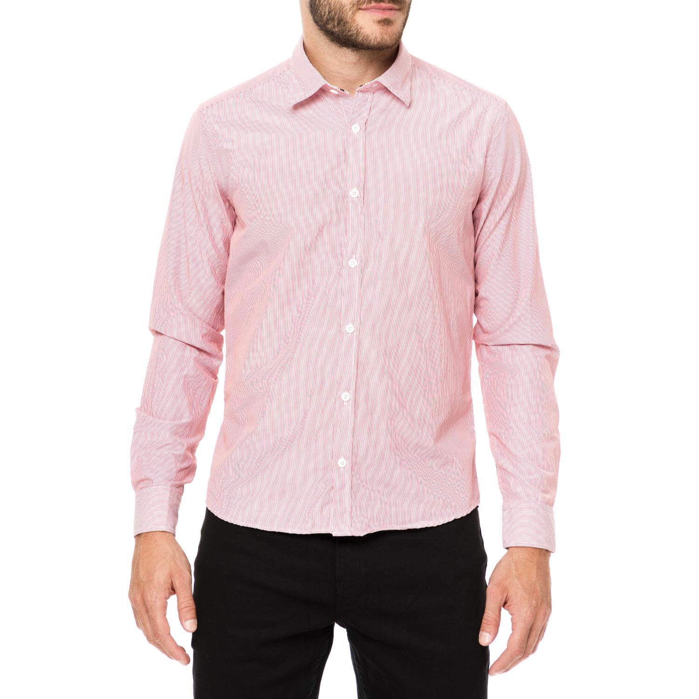DEVERGO JEANS - Ανδρικό μακρυμάνικο πουκάμισο DEVERGO JEANS ροζ ανδρικά ρούχα πουκάμισα μακρυμάνικα