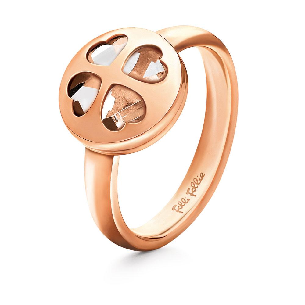 FOLLI FOLLIE - Γυναικείο επιχρυσωμένο ροζ δαχτυλίδι HEART4HEART WIN με κρυστάλλι γυναικεία αξεσουάρ κοσμήματα δαχτυλίδια