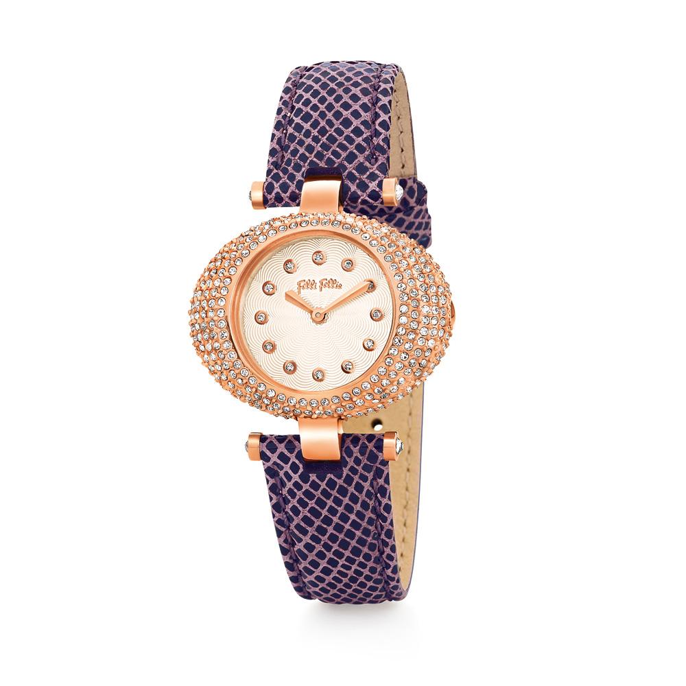 FOLLI FOLLIE - Γυναικείο ρολόι Folli Follie μωβ γυναικεία αξεσουάρ ρολόγια δερμάτινα