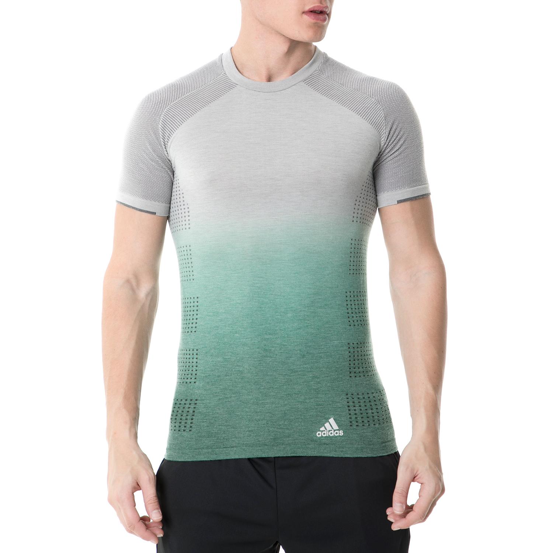 adidas - Ανδρική κοντομάνικη μπλούζα adidas PKNIT TEE DD RUNNING γκρι-πράσινη ανδρικά ρούχα αθλητικά t shirt