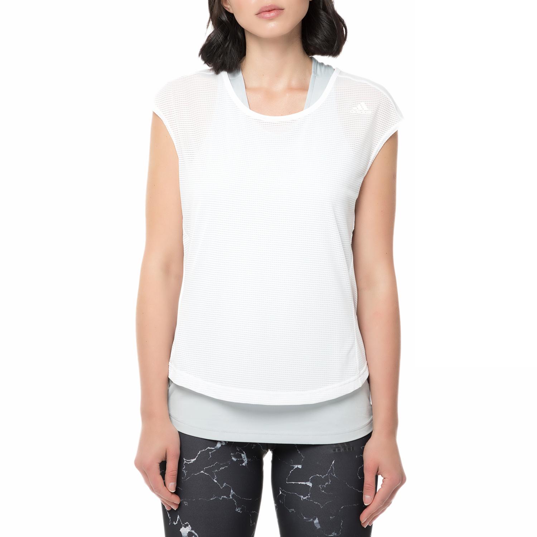 adidas - Γυναικείο αθλητικό διπλό t-shirt adidas SUPERNOVA TKO TWO-LAYER λευκό γυναικεία ρούχα αθλητικά t shirt τοπ