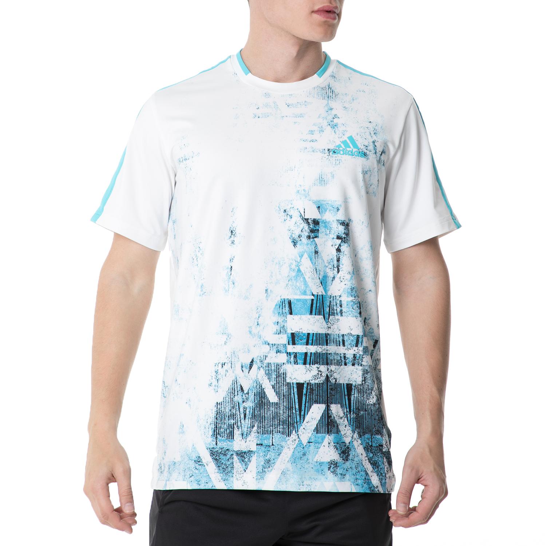 adidas - Ανδρική κοντομάνικη μπλούζα adidas ESSEX TR TENNIS άσπρη-γαλάζια ανδρικά ρούχα αθλητικά t shirt