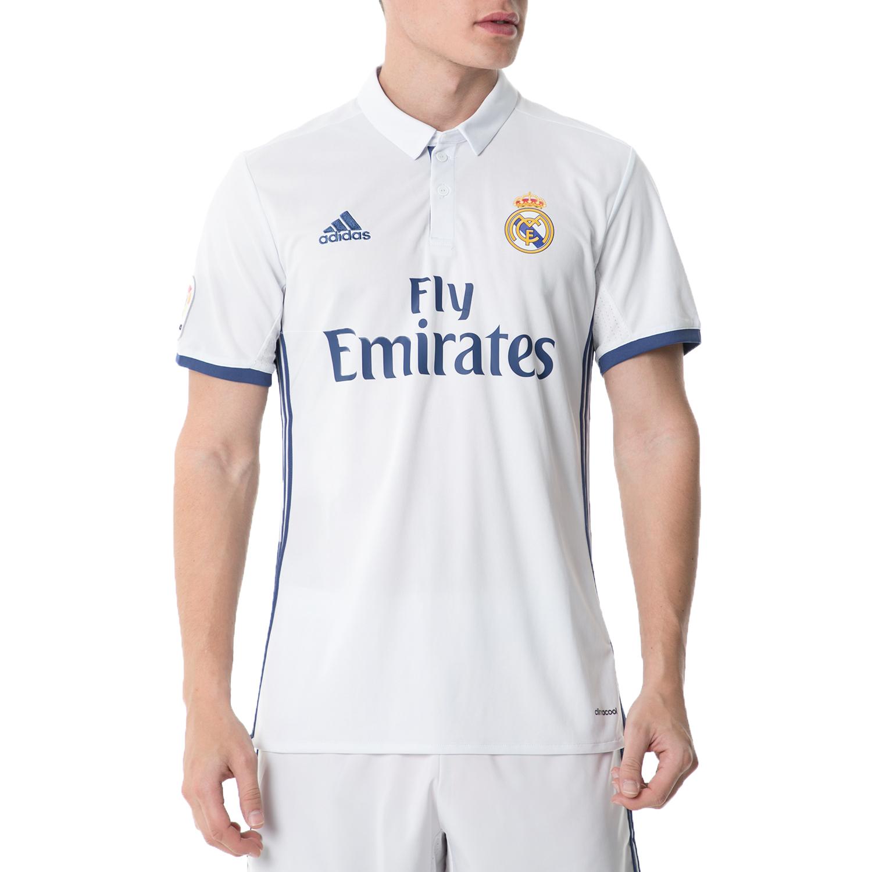 adidas - Ανδρική κοντομάνικη μπλούζα adidas REAL FOOTBALL/SOCCE λευκή ανδρικά ρούχα αθλητικά t shirt