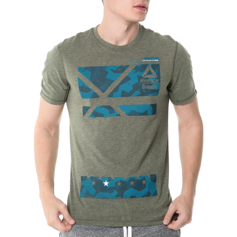REEBOK - Ανδρικό αθλητικό t-shirt Reebok CF POLY BLEND G1 χακί ανδρικά ρούχα αθλητικά t shirt