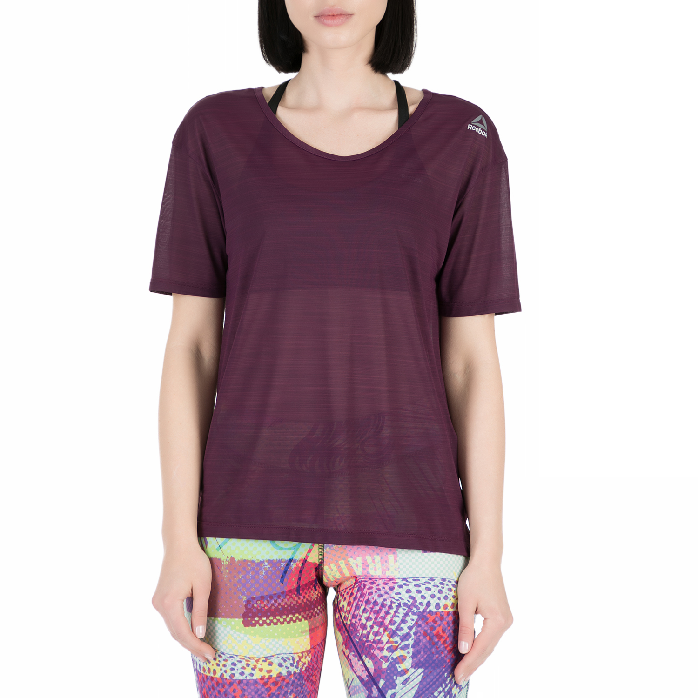REEBOK - Γυναικείο αθλητικό t-shirt Reebok WOR ACTIVCHILL SLUB TEE μοβ γυναικεία ρούχα αθλητικά t shirt τοπ